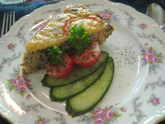 Albion Manor Bed and Breakfast: Salmon Frittata with Pickled Cucumbers (Second Course)