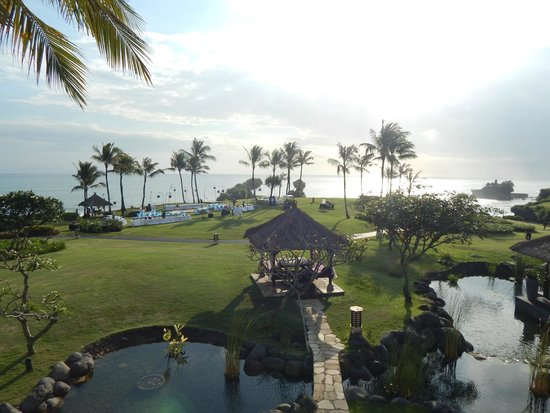 Pan Pacific Nirwana Bali Resort: Wedding reception setup from Sunset Lounge