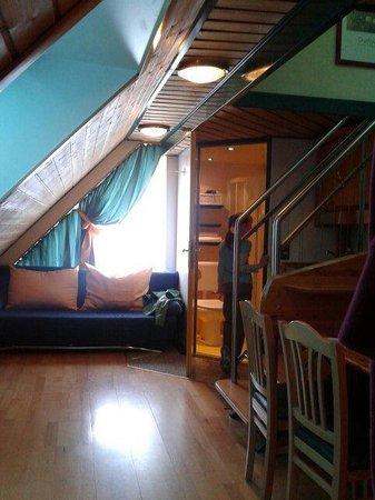 Hotel Asperner Lowe : Кухня и гостинная в номере под крышей