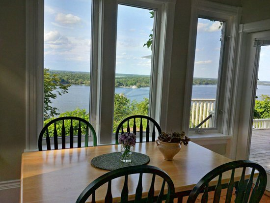 Lake on the Mountain Resort: View of Glenora Ferry crossing from Kitchen/Dining area