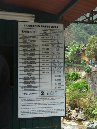 Belmond Sanctuary Lodge: Bus ticket prices