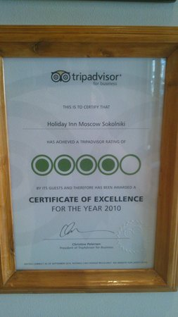 Holiday Inn Moscow Sokolniki : Tripadvisor certificate2010