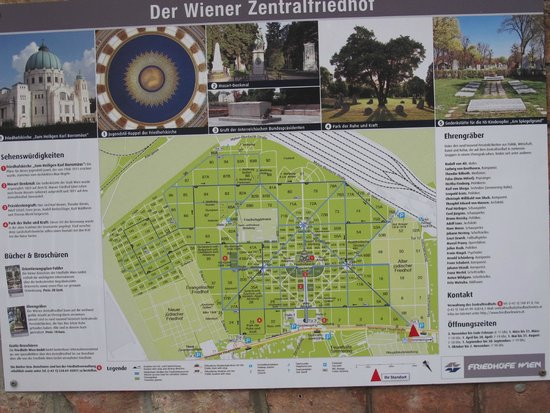 Central Cemetery (Zentralfriedhof): Map of the cemetery