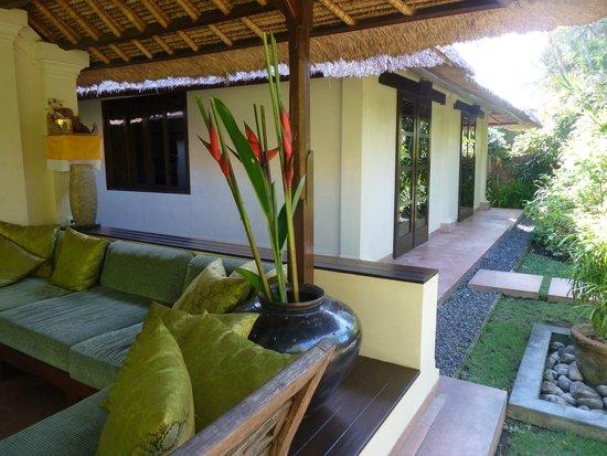 The Pavilions Bali : Zicht op onze slaapkamers vanuit de woonkamer