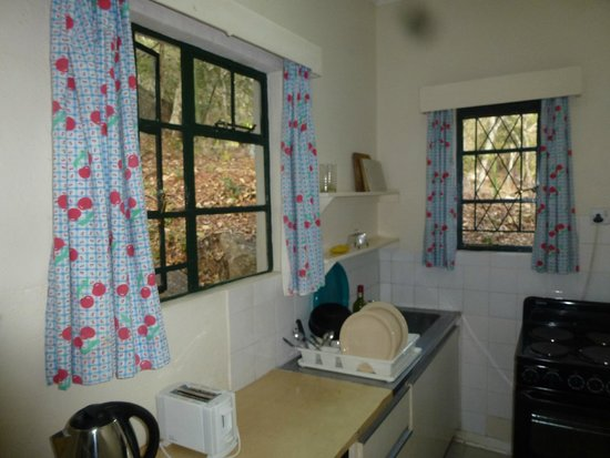 Norma Jeane's Lakeview Resort: cheery cherry kitchen curtains