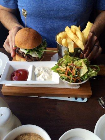 Cafe Hans : Lamb burger and chips.