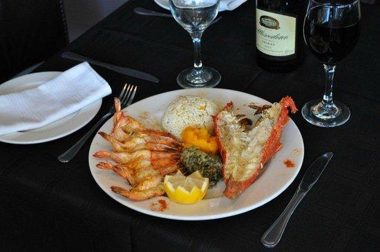 Ocean Blue: Rock Lobster and prawn platter grilled in lemon butter sauce