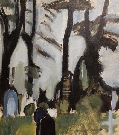ARoS Aarhus Kunstmuseum : H. Giersing: Svanninge kirkegård, sorte stammer