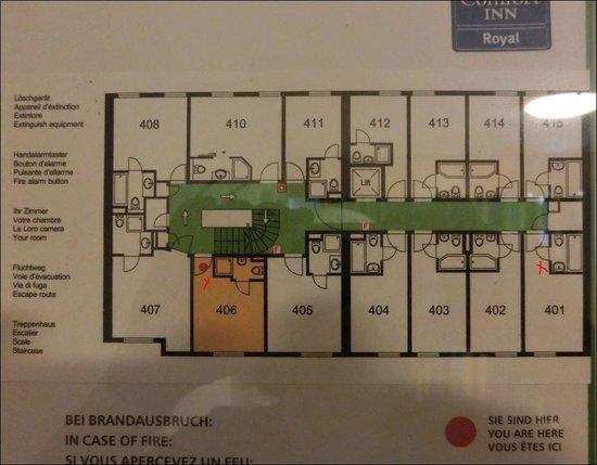 Comfort Hotel Royal Zurich: Lageplan der Zimmer