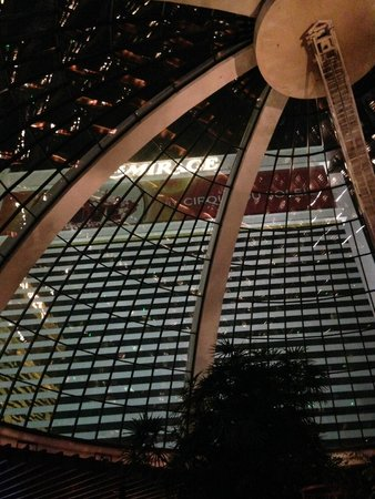 The Mirage Hotel & Casino: view of tower from below the dome in lobby