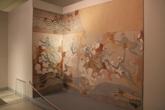 Museum of Prehistoric Thera : Фреска с голубыми обезьянами в музее