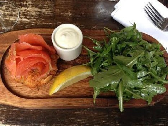 The Winding Stair : Home-cured Goatsbridge Farm trout, anchovy mayo, roast almond potato cake and rocket