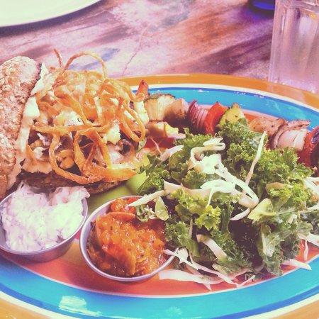Yemanja Woodfired Grill: Mediterranean Veggie Burger with Kale Salad & Grilled Veggie Skewer