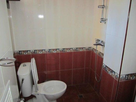 Badrum med dusch framför toalettstolen - Picture of Hotel Bolyarka ... : badrum med : Badrum