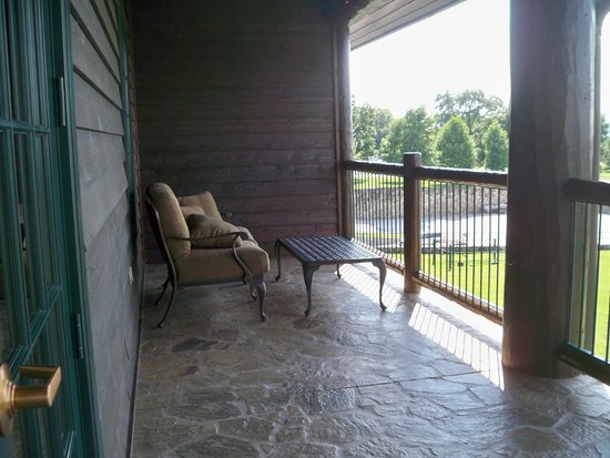 The Keeter Center at College of the Ozarks - Lodging: balcony on one side (very comfortable love seat)