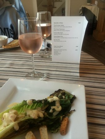 Cape House Restaurant: The Grilled Cesar Salad and Rhubarb wine at Cape House