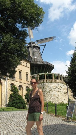 Sanssouci Palace: the windmill {paying} behind the palace