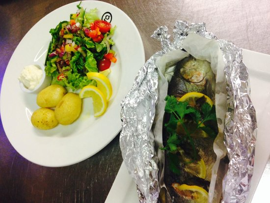 The Brander Lodge Hotel & Bistro: A Chefs Special whole trout with salad and baby potatoes