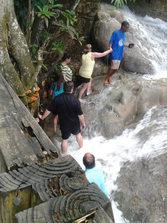Dunn's River Falls and Park: Walking up the waterfall with friends