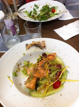 Marley & Me: salad with salmon, tomatoes, pumpkin seeds and honey sauce