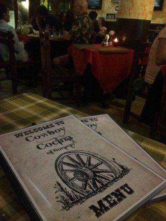 Cowboy Cocina Boracay: Menu and logo