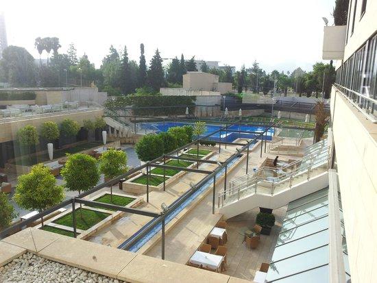Nelva Hotel: L'espace piscine/jardin vu de la baie vitré de l'ascenseur