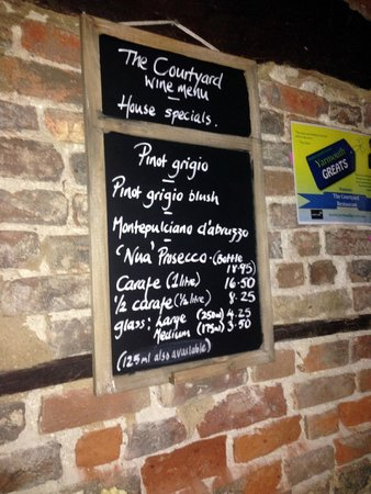 The Courtyard: The wine Menu
