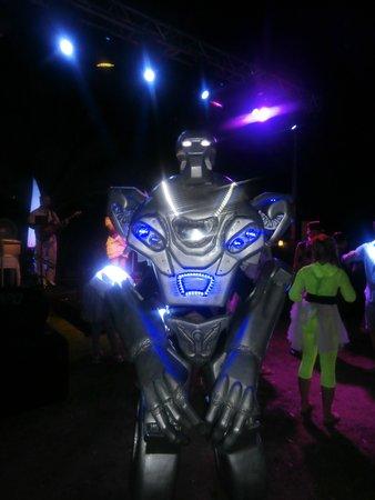 Hotel Riu Kaya Belek: Transformers walk round at night.