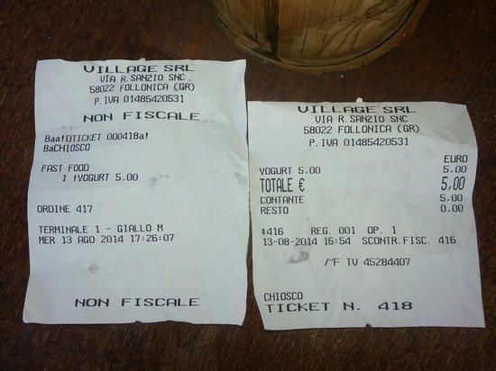 Follonica, Italia: Scontrino fiscale ufficiale acqua village yogurt esaurito