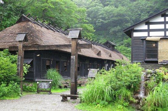 Tsuru no Yu Onsen: だだっぴろい駐車場より入り口を眺める