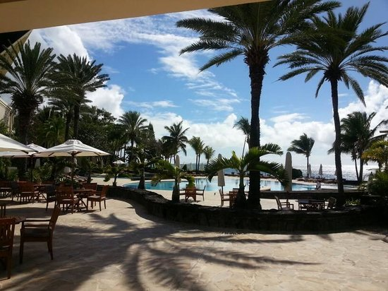 The Residence Mauritius: View of pool from verandah