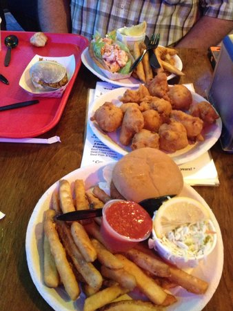 Clam cakes, spicy quahog, lobster roll, crab cake sammich