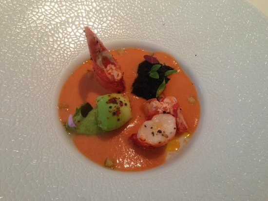 Epicure: Blue Lobster in tomato juice gazpacho and olive oil, fork crushed avocado lightly spicy