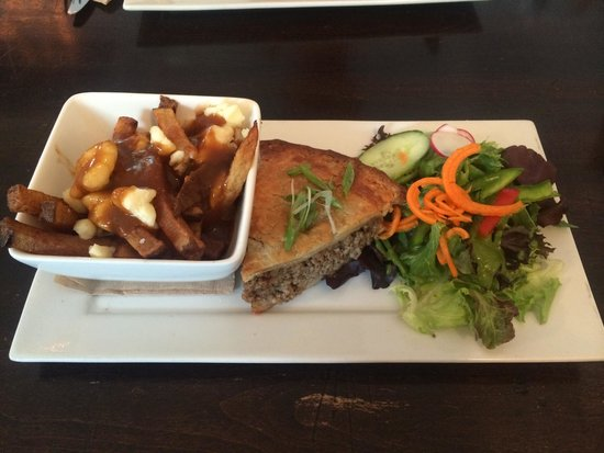 Alice's Village Cafe : Tourtière special of the day. Included mini salad and mini poutine.