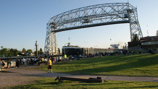 Ship leaving Duluth under the Aerial Lift Bridge