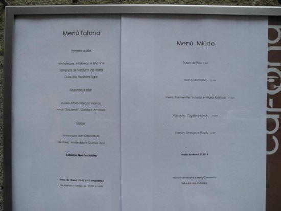 Restaurante A Tafona: MENU DEL 7 DE AGOSTO 2014