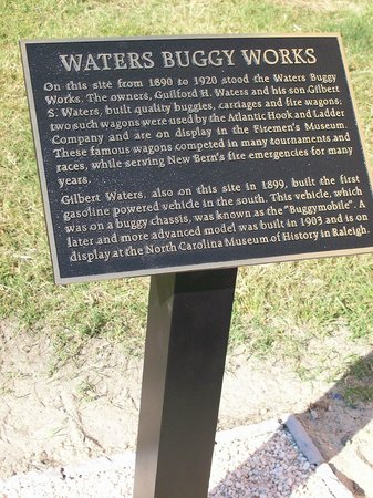 New Bern Fireman's Museum : Plaque where the original G.H. Waters and Son, wagon and buggy factory stood.