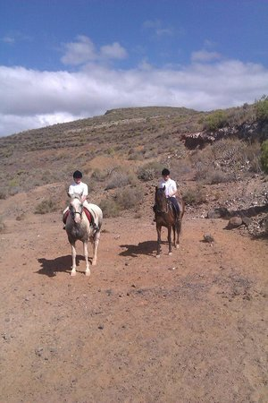 Horse Riding Adventures in Tenerife: One of our hacks; my sister and I on Leon and Candela.