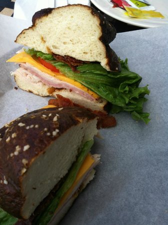 Pumpernickel's Pretzel Bakery: Bowery Boys with turkey, Bavarian ham cheese BLT