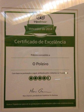 O Poleiro : Certificado pelo TripAdvisor