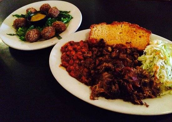 Riverfront Barbeque: Hush Puppies & Double BBQ Platter