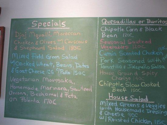 Restaurante El Garaje: Menu the day we ate there.