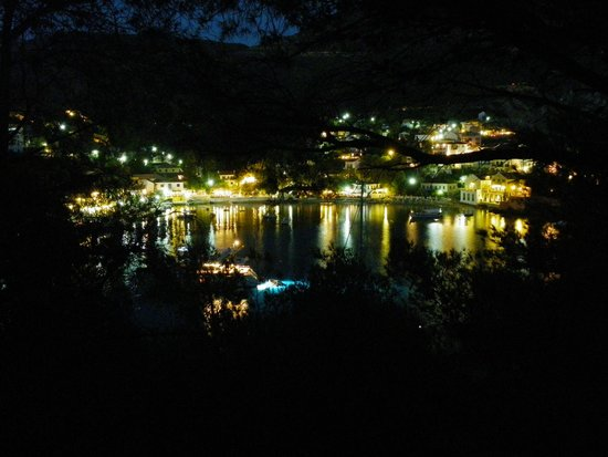 Assos village at night