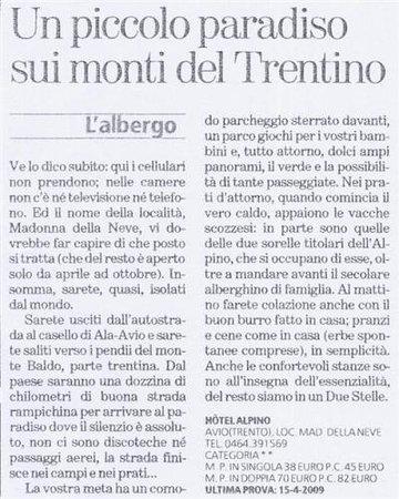 Albergo Alpino: articolo Edoardo Raspelli