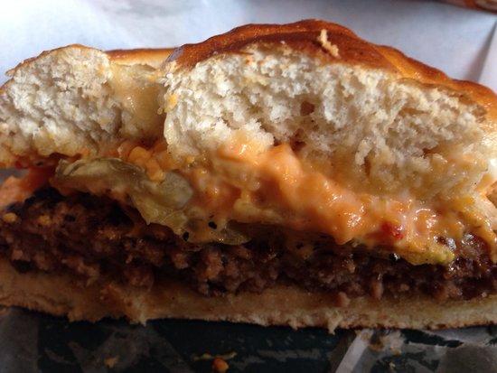 Smoky Mountain Sub Shop: Bacon Pimento Cheese Burger on Pretzel Bun!!! Photo by MrsGales71
