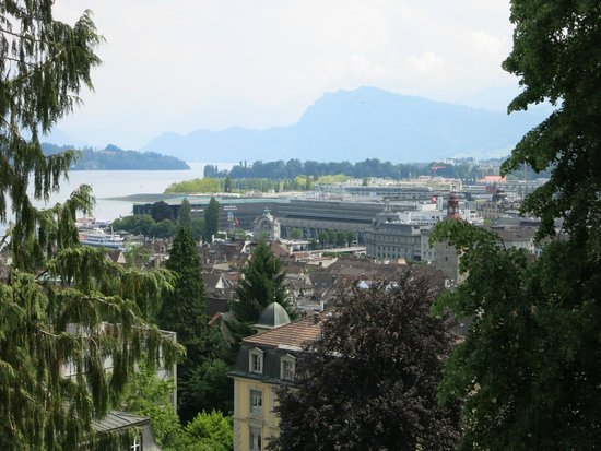 The Nine Towers: A view of the train station and Lucerne from the wall.
