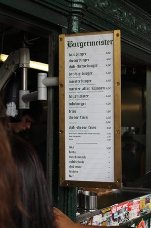 Burgermeister: menu