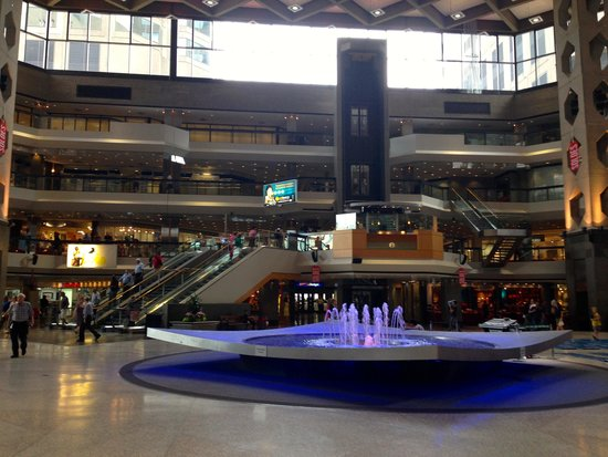 Complexe Desjardins: fountain at rest, note, four + stories of building