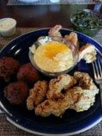 The Fishing Hole: My shrimp, oysters, greens, and grits! YUM!!!
