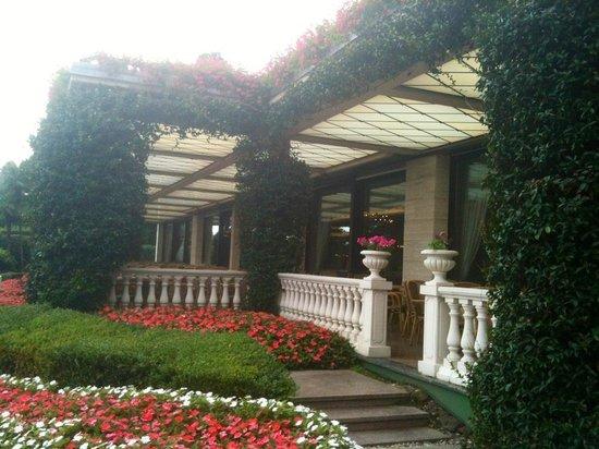 Grand Hotel Bristol: La terrasse face au lac. Petits déjeuners d'été enthousiasmants